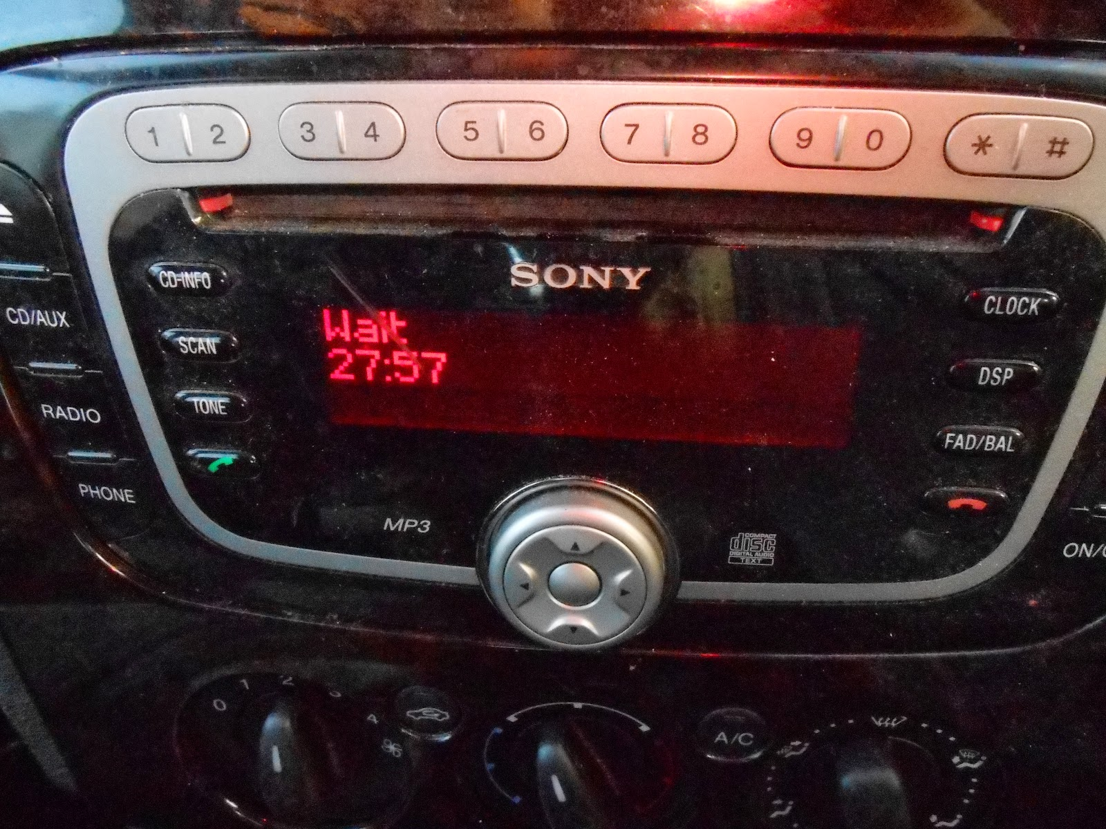 sony ford focus radio cd player key code