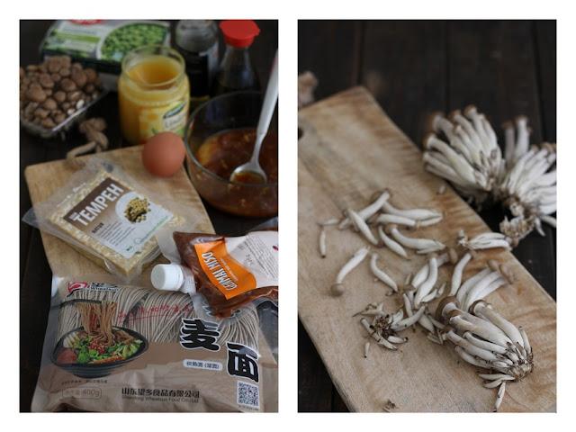 гъби шимеджи, темпе, продукти за рамен, мисо паста, нудъли