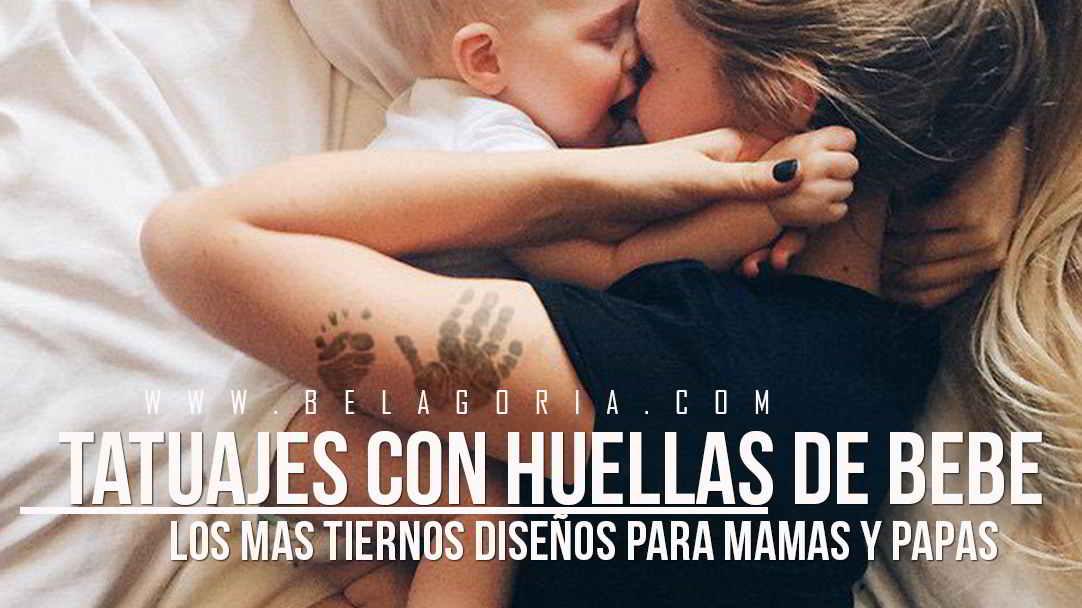 Tierna imagen de una mama y su bebe jugando, la madre lleva tatuaje de las huellas del bebe en el brazo