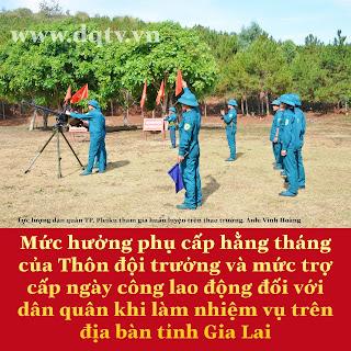 Mức hưởng phụ cấp hằng tháng của Thôn đội trưởng và mức trợ cấp ngày công lao động đối với dân quân khi làm nhiệm vụ trên địa bàn tỉnh Gia Lai
