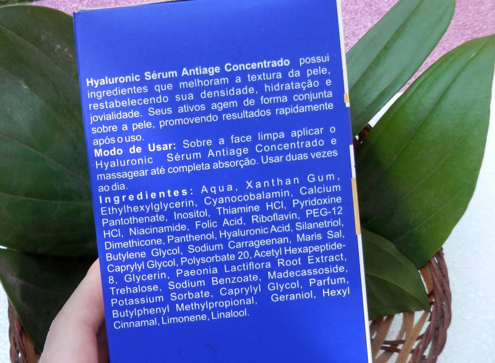 Composição Hyaluronic Sérum Antiage Concentrado da Biomarine