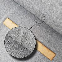 Gri renkli triko kumaş örneği ve yakınlaştırılmış görüntüsü
