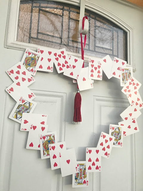 Playing Card Valentine's Day Wreath, valentine day wreath, DIY Valentine Day Wreath, Alice in Wonderland party decorations, Queen of Hearts party decorations, Valentine Day decorations, DIY projects with playing cards, playing card valentine, easy door wreath diy