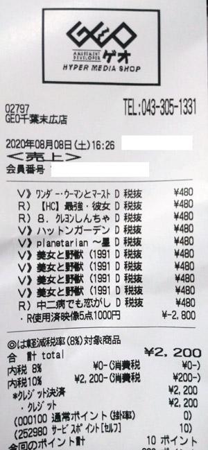 GEO ゲオ 千葉末広店 2020/8/8 のレシート