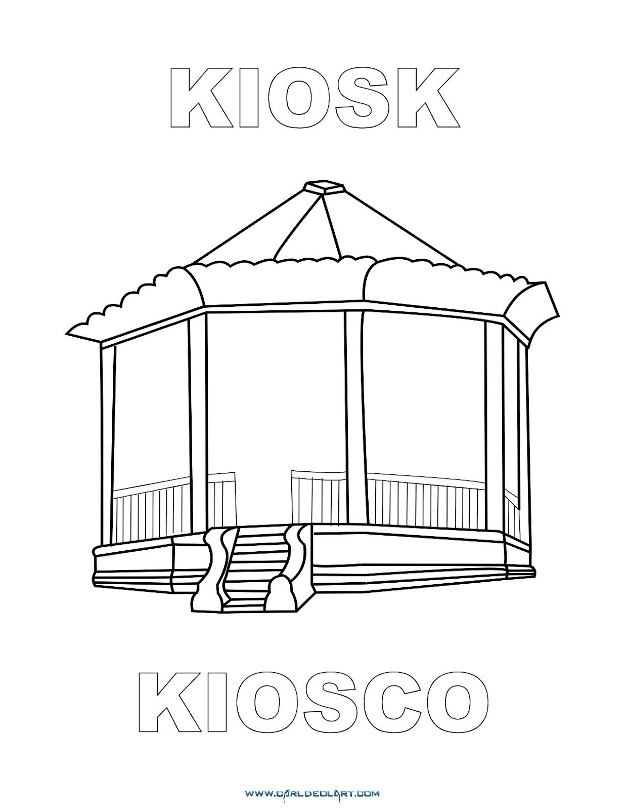 Dibujos Inglés Español Con K Kiosco Kiosk Dibujospacolorear