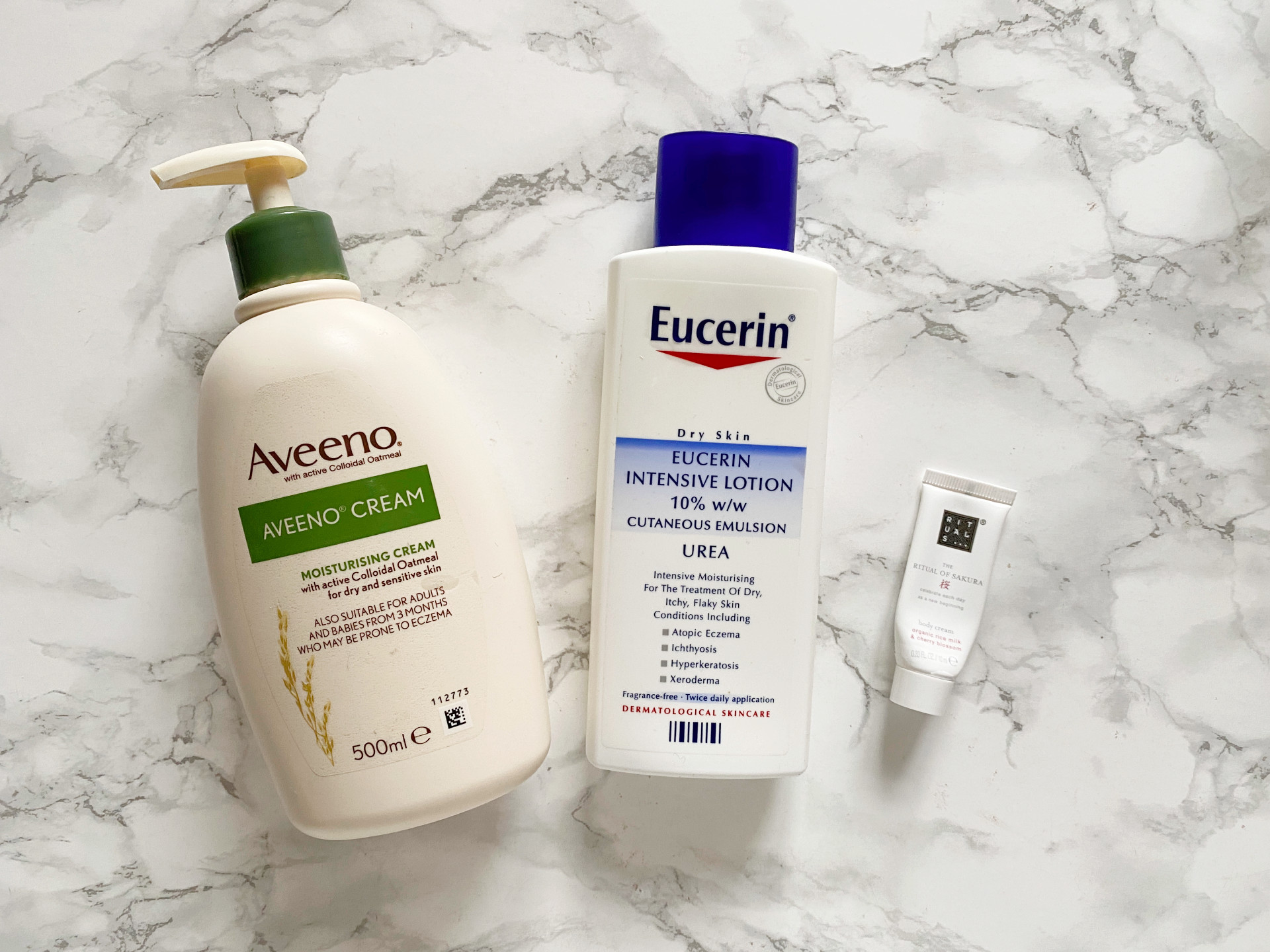 body care empties eucerin aveeno review