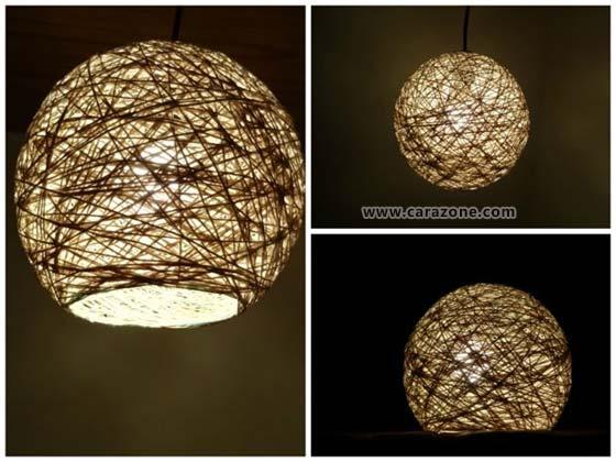 Membuat Kap Lampu Bundar Dengan Benang super keren