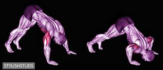A anime character doing pike push-ups