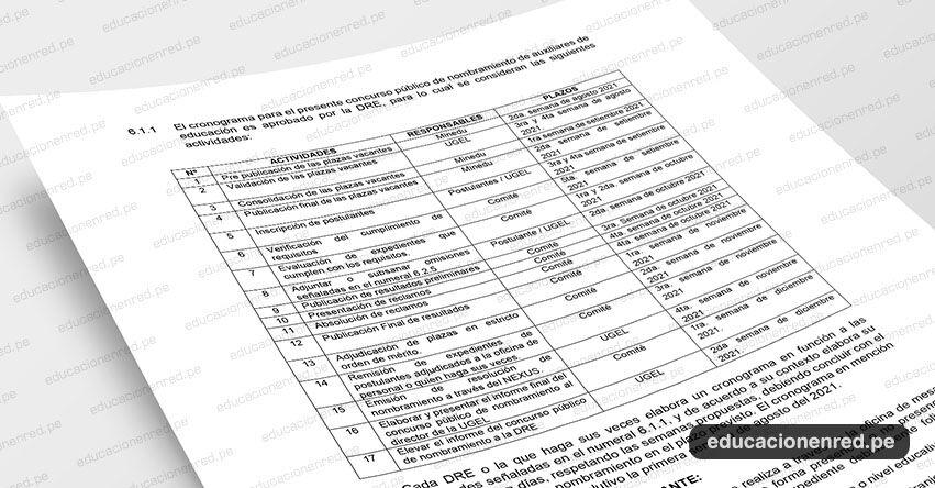 MINEDU: Cronograma para el Nombramiento de Auxiliares de Educación EBR y EBE 2021 (D. S. N° 013-2021-MINEDU)