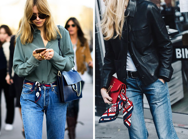 Пояс-платок на джинсах и украшение платок на сумке
