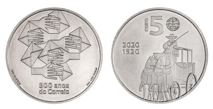 500 ANOS DOS CORREIOS - Moeda comemorativa é lançada em Portugal.
