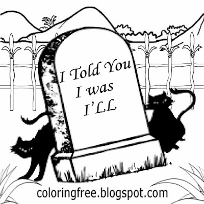 Magic moon two black cats funny graveyard Halloween coloring pages free printable kids entertainment