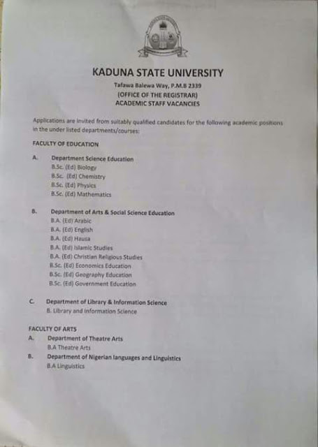 APPLY NOW - KADUNA STATE UNIVERSITY ACADEMIC STAFF VACANCIES 2018