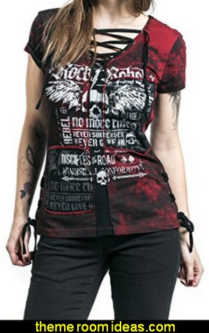 Lace Up Strappy Neck Gothic Rock Style Skull Print Cotton T-Shirt