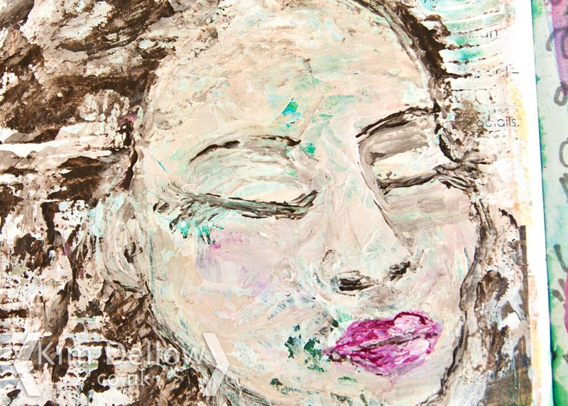 An Art journal portrait in Gesso and DecoArt Media Fluid Acrylics close up