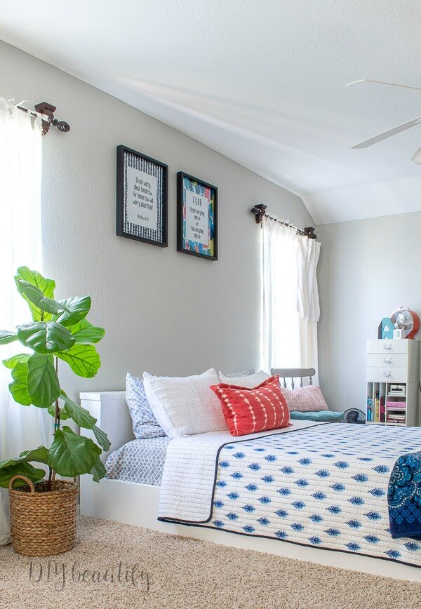 fiddle leaf fig in teen girls modern bedroom