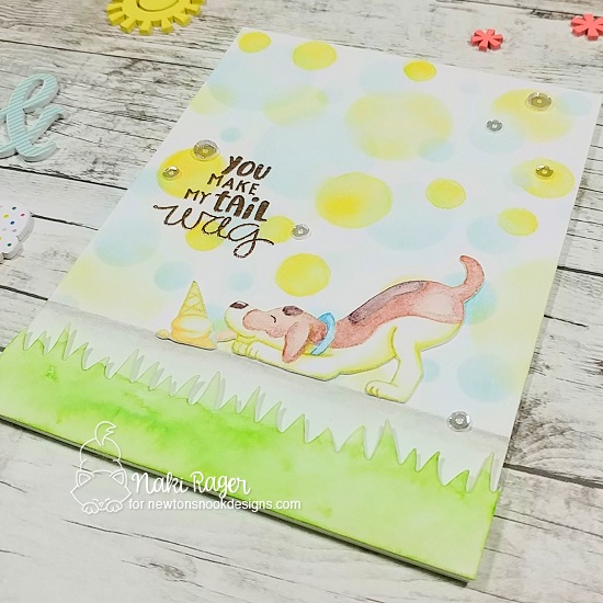 Dog and Ice Cream Summer Card by Naki Rager | Dog Days of Summer  and Say Woof Stamp Sets, Bokeh Stencil Set and Land Borders Die Set by Newton's Noook Designs #newtonsnook #handmade