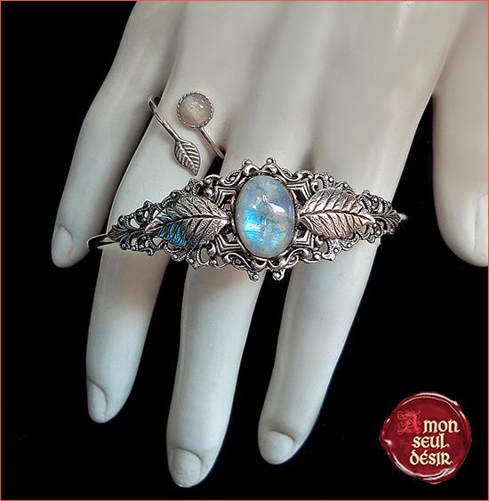Bracelet Bague Parure Pierre de Lune Bijoux Elfiques féeriques Moonchild Magie Blanche Moonstone Elven Fairy Elvish Jewelery Set White Magic