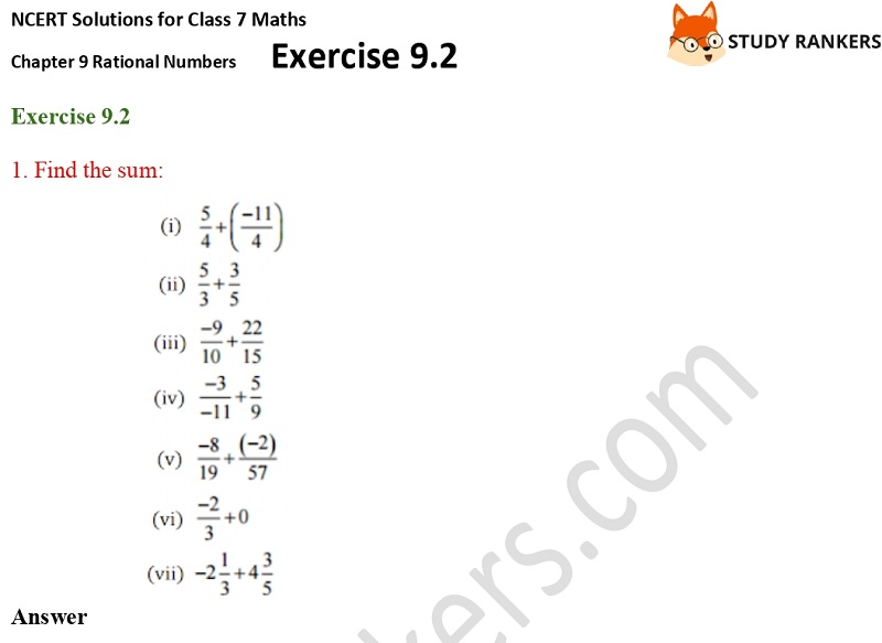 NCERT Solutions for Class 7 Maths Ch 9 Rational Numbers Exercise 9.2 1
