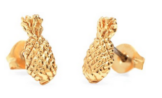 White Background of Gold Pineapple Earrings