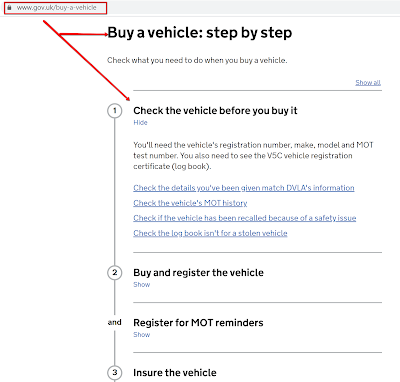 car check screenshot from dvla website