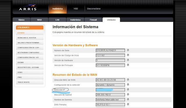 IP Pública WAN modem Arris