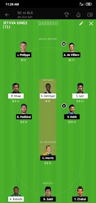DC VS RCB Dream 11 Match 55 2 Nov 100% The Dream Team Winning IPL 2020