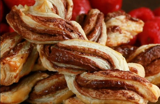 Chocolate Puff Pastry Twists #desserts #chocolate
