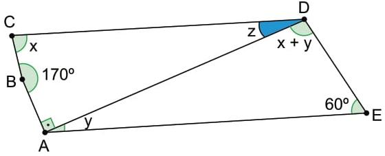A figura indica a medida de alguns dos ângulos internos de um quadrilátero ABCD