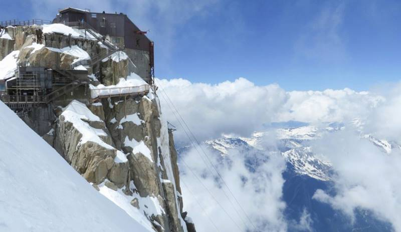 Stairs of Mont Blanc Observatory, France