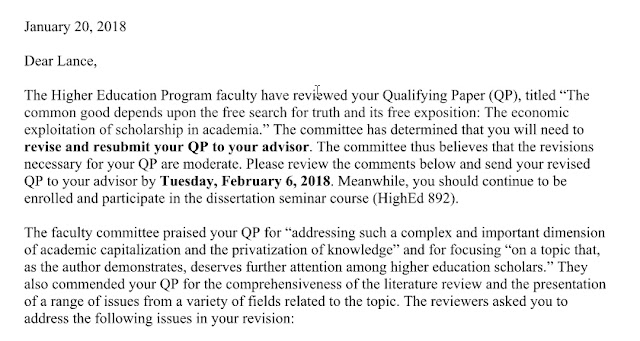 A letter from the program saying that my paper has been accepted with moderate revisions required.