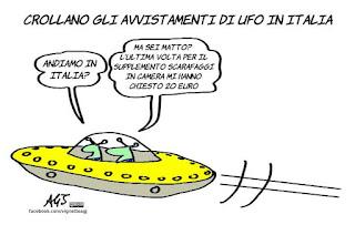 ufo, alieni, avvistamenti, turismo, esercenti, truffe, umorismo, vignetta, satira