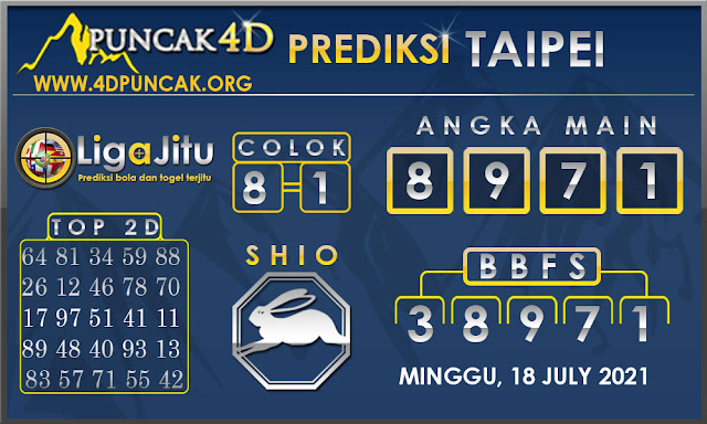 PREDIKSI TOGEL TAIPEI PUNCAK4D 18 JULY 2021