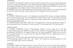 iKON 'Thanks To' Message on iKON 4th Anniversary