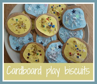 Making cardboard play biscuits for the toy kitchen
