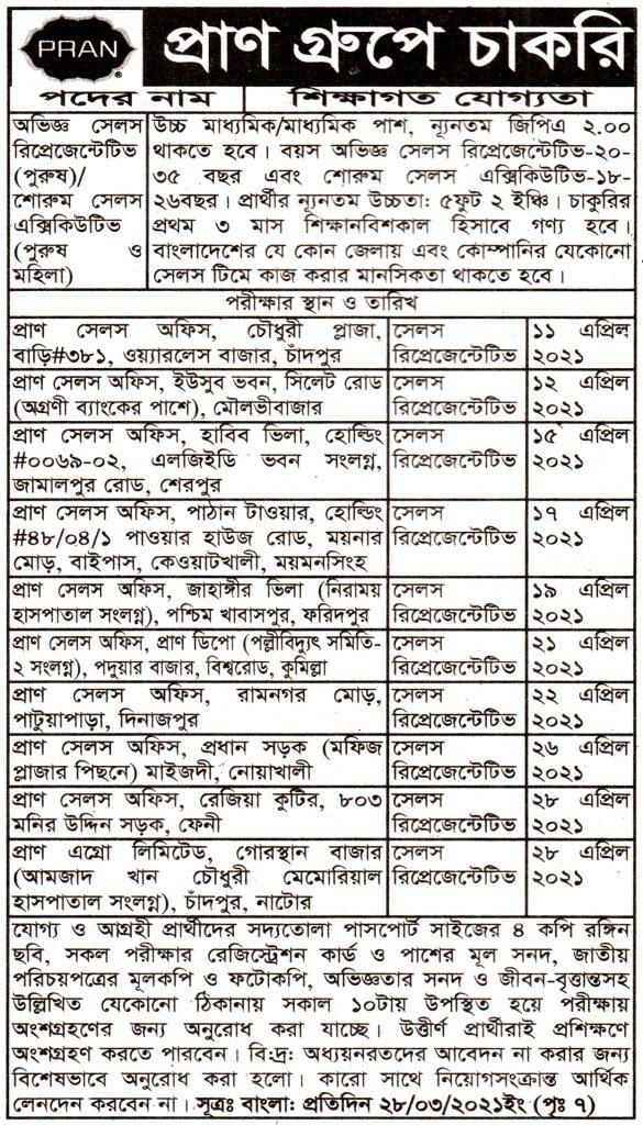 প্রাণ গ্রুপ নিয়োগ বিজ্ঞপ্তি -Pran Group Job Circular-2021