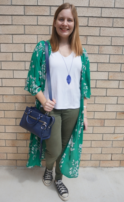 green floral duster and olive skinny jeans converse and rebecca minkoff micro bedford | awayfromblue