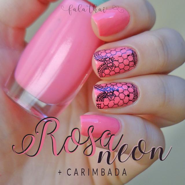 Rosa Neon e Carimbada com a Placa Flower Yarn S001