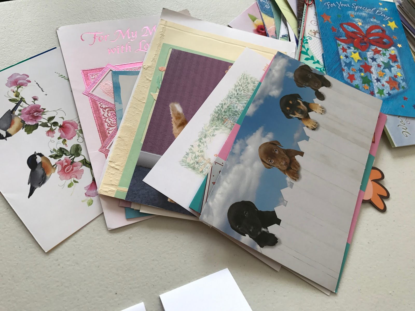 Upcycling old greeting cards twice a month i meet with a group of church ladies to work on a fun missions project members of the church are asked to donate their used greeting cards m4hsunfo