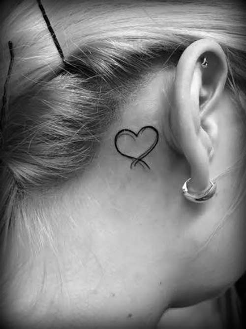 kulak arkası kalp dövmesi behind ear heart tattoo