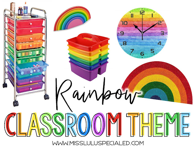rainbow classroom theme items for elementary teachers, including rainbow drawer cart, rainbow sticky notes, rainbow classroom doormat, rainbow supply caddies and rainbow clock