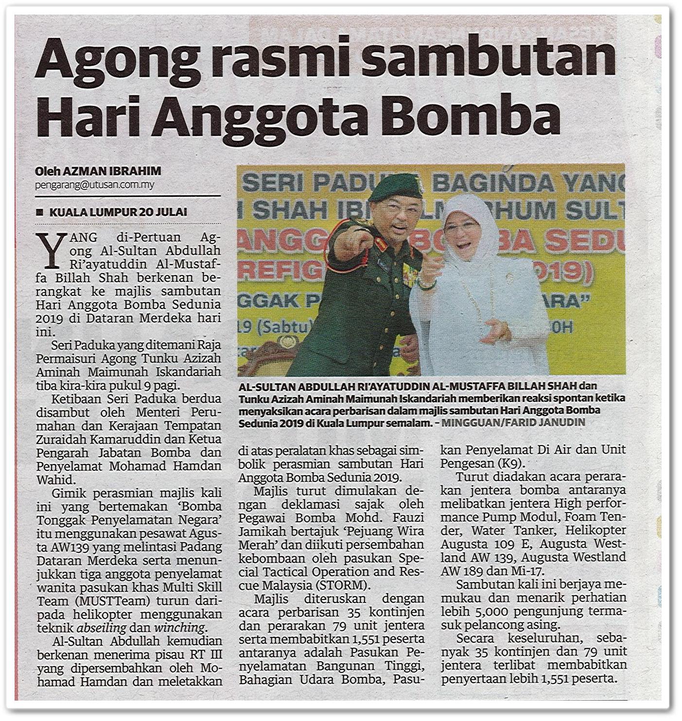 Agong rasmi sambutan Hari Anggota Bomba - Keratan akhbar Mingguan Malaysia 21 Julai 2019