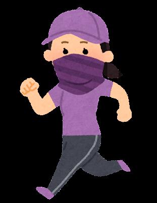 バフを付けてジョギングする人のイラスト(女性)