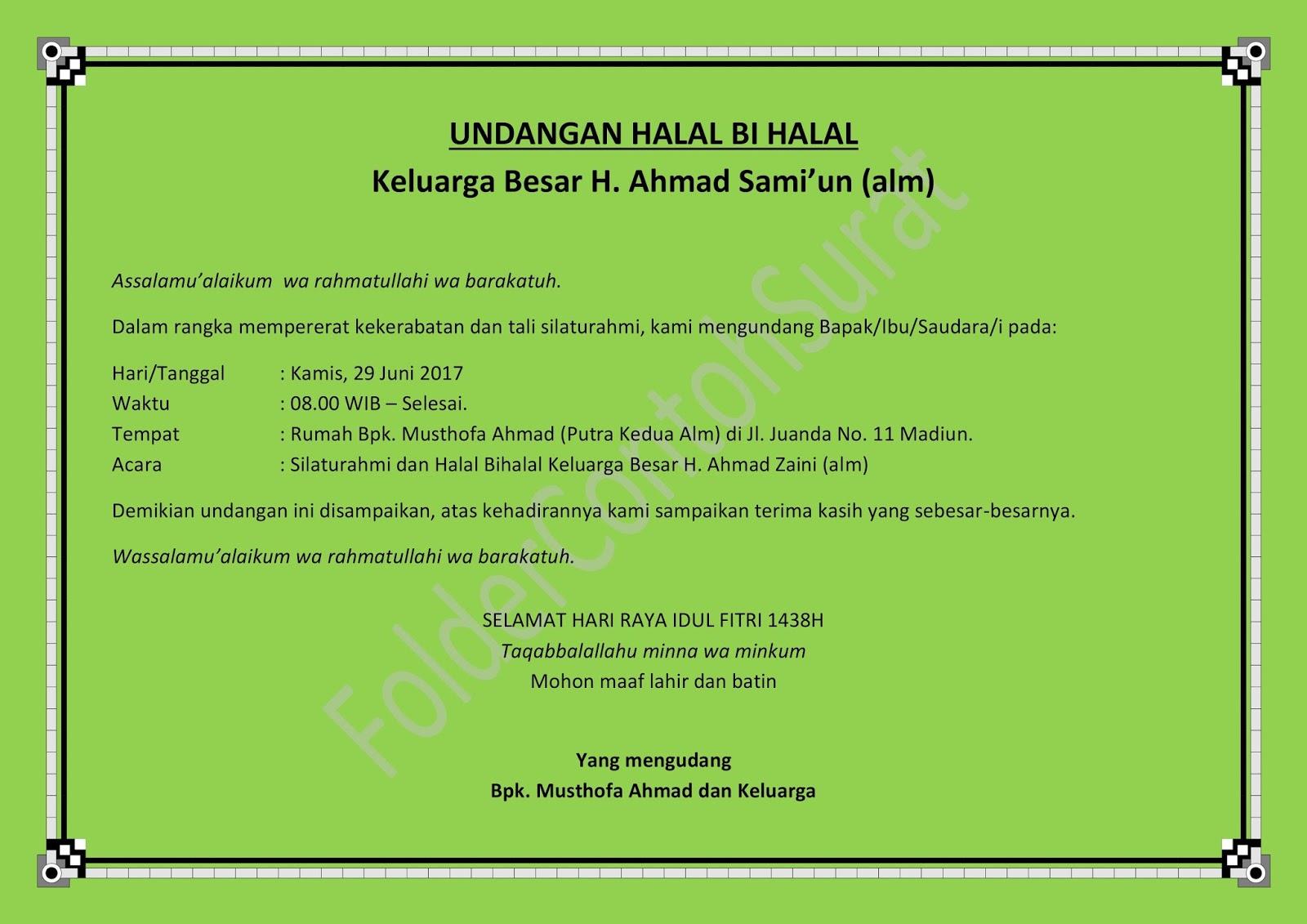 Contoh Surat Undangan Halal Bihalal Idul Fitri | Folder ...