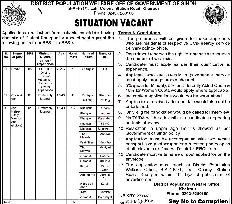 Latest Jobs in Population Welfare Department KhairPur 2021-Application Form