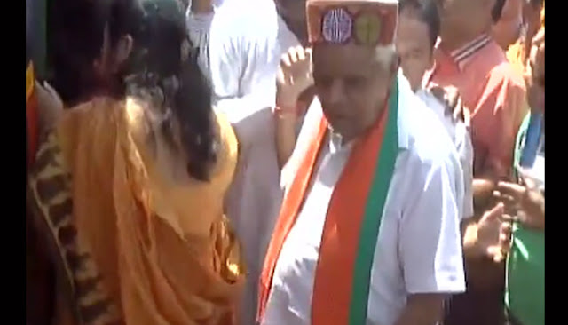 A video has gone viral allegedly claiming to show MP Home Minister Babulal Gaur touching a woman inappropriately.  The video, shot at an event Bhopal, shows Babulal Gaur ushering in people into a bus.  ANI published it on Thursday afternoon with the caption -  Madhya Pradesh Home Minister Babulal Gaur touches a woman inappropriately during an event in Bhopal.  Babulal Gaur's hands do make a contact with the woman, but it is hard to say if it is deliberate or innocuous.