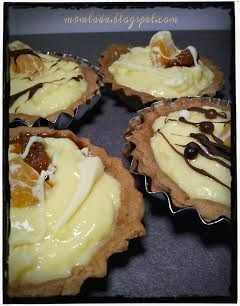 tartaletas de chocolate con crema de naranja