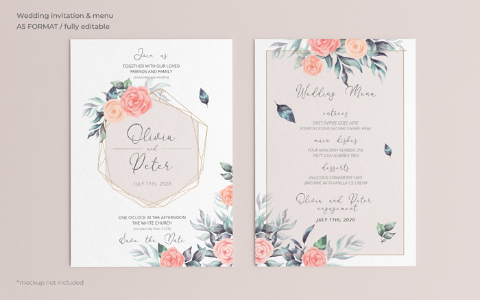 Soft Floral Wedding Invitation Menu Template