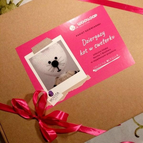 Pudełko ze wstążką i naklejką pakiet dziewiarski z kotem na drutach