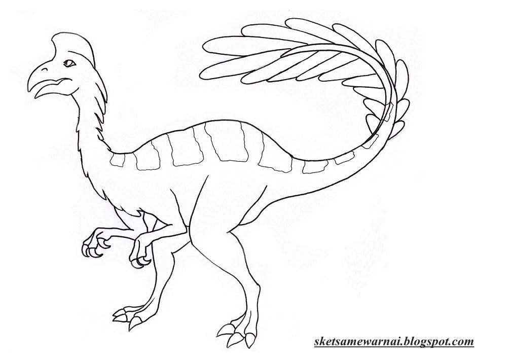 Sketsa Mewarnai Gambar Hewan Dinosaurus